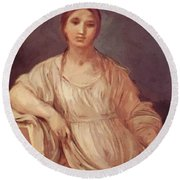 Portrait Of A Girl With Crown 1642 Round Beach Towel