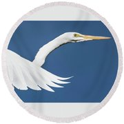 Portrait Of A Great Egret Round Beach Towel
