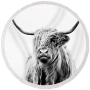 Portrait Of A Highland Cow Round Beach Towel