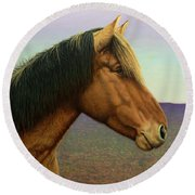 Portrait Of A Horse Round Beach Towel by James W Johnson