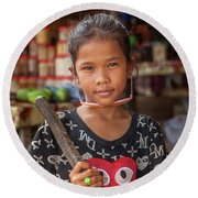 Portrait Of A Khmer Girl - Cambodia Round Beach Towel