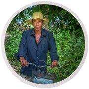 Portrait Of A Khmer Rice Farmer - Cambodia Round Beach Towel
