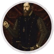 Portrait Of A Knight Of The Order Of Santiago Round Beach Towel