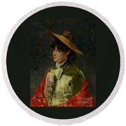 Portrait Of A Lady Round Beach Towel