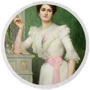 Portrait Of A Lady Holding A Fan Round Beach Towel by Jules-Charles Aviat