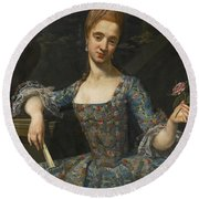 Portrait Of A Lady In An Elaborately Embroidered Blue Dress Round Beach Towel
