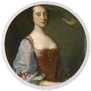 Portrait Of A Lady In Van Dyck Dress Round Beach Towel