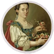 Portrait Of A Lady With A Flower Basket Round Beach Towel
