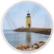 Portrait Of A Lighthouse Round Beach Towel