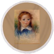 Portrait Of A Little Girl Round Beach Towel