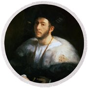 Portrait Of A Man Probably Cesare Borgia 1520 Round Beach Towel