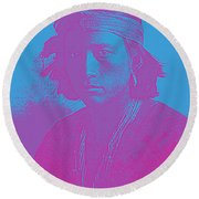 Portrait Of A Navajo Youth 4 Round Beach Towel