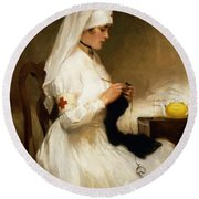 Portrait Of A Nurse From The Red Cross Round Beach Towel
