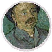 Portrait Of A One Eyed Man Saint Remy De Provence  Autumn 1889 Vincent Van Gogh 1853  1890 Round Beach Towel