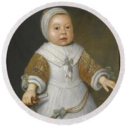 Portrait Of A One-year-old Girl Of The Van Der Burch Family Three-quarter Length Round Beach Towel