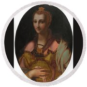 Portrait Of A Richly Dressed Lady Round Beach Towel