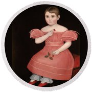 Portrait Of A Rosy Cheeked Young Girl In A Pink Dress Round Beach Towel