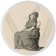 Portrait Of A Seated Woman Round Beach Towel