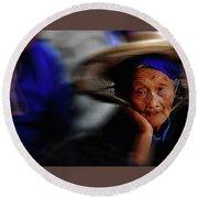 Portrait Of A Senior Lady In Yun Nan, China Round Beach Towel
