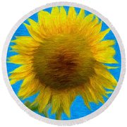 Portrait Of A Sunflower Round Beach Towel