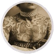 Portrait Of A Tattooed Woman Round Beach Towel