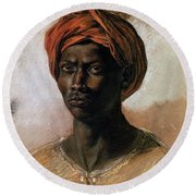Portrait Of A Turk In A Turban Round Beach Towel by Ferdinand Victor Eugene Delacroix