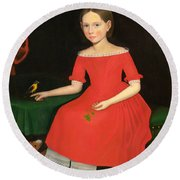 Portrait Of A Winsome Young Girl In Red With Green Slippers Dog And Bird Round Beach Towel