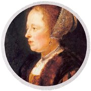 Portrait Of A Woman 1640 Round Beach Towel