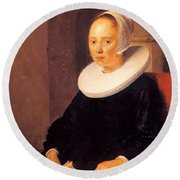 Portrait Of A Woman 1646 Round Beach Towel