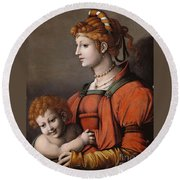 Portrait Of A Woman And Child - Allegory Of Liberality Round Beach Towel