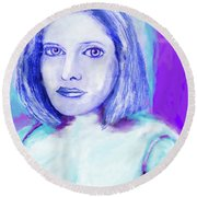 Portrait Of A Woman  Round Beach Towel