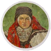 Portrait Of A Woman In A Red Scarf Round Beach Towel