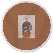 Portrait Of A Woman Late Xix - Early Xx Century Kuzma Sergeevich Petrov-vodkin Round Beach Towel