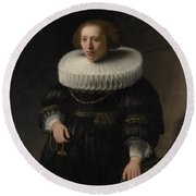 Portrait Of A Woman Probably A Member Of The Van Beresteyn Family Round Beach Towel