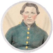 Portrait Of A Young  Civil War Soldier 3 Round Beach Towel