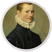 Portrait Of A Young Gentleman Head And Shoulders At The Age Of 23 Round Beach Towel
