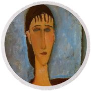 Portrait Of A Young Girl 1910 Round Beach Towel