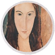Portrait Of A Young Girl Round Beach Towel by Amedeo Modigliani
