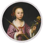 Portrait Of A Young Girl As A Shepherdess Holding A Sprig Of Flowers Round Beach Towel