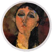 Portrait Of A Young Girl Louise 1915 Round Beach Towel