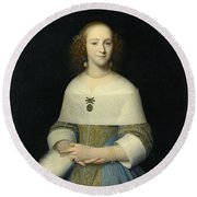 Portrait Of A Young Lady Round Beach Towel