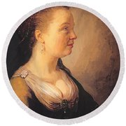 Portrait Of A Young Woman 1640 Round Beach Towel