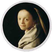 Portrait Of A Young Woman Round Beach Towel by Jan Vermeer