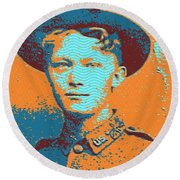 Portrait Of A Young  Wwi Soldier 4 Round Beach Towel