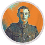 Portrait Of A Young  Wwi Soldier Series 6 Round Beach Towel