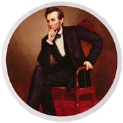 Portrait Of Abraham Lincoln Round Beach Towel by George Peter Alexander Healy