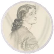 Portrait Of Ada Vernon Round Beach Towel