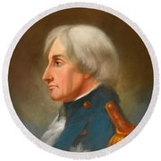 Portrait Of Admiral Lord Nelson Round Beach Towel
