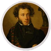 Portrait Of Alexander Pushkin 1827 Round Beach Towel