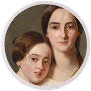 Portrait Of Alexandrine Pazzani And Her Cousin Caroline Von Saar According To Family Tradition Round Beach Towel